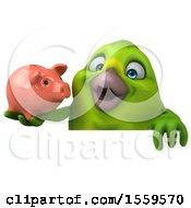 Poster, Art Print Of 3d Green Bird Holding A Piggy Bank On A White Background
