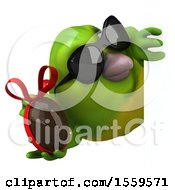 3d Green Bird Holding A Chocolate Egg On A White Background