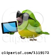 3d Green Bird Holding A Tablet On A White Background