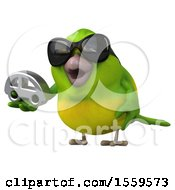 3d Green Bird Holding A Car On A White Background