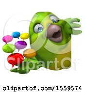 Clipart Of A 3d Green Bird Holding Messages On A White Background Royalty Free Illustration by Julos