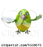3d Green Bird Holding A Plate On A White Background