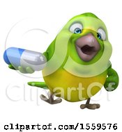 3d Green Bird Holding A Pill On A White Background