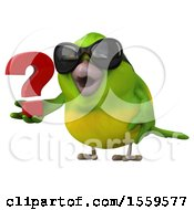 3d Green Bird Holding A Question Mark On A White Background