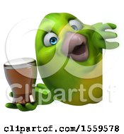 Clipart Of A 3d Green Bird Holding A Beer On A White Background Royalty Free Illustration by Julos