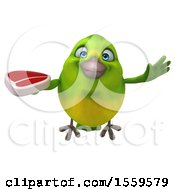 Clipart Of A 3d Green Bird Holding A Steak On A White Background Royalty Free Illustration by Julos