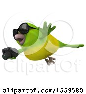 3d Green Bird Holding A Camera On A White Background