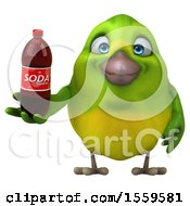 3d Green Bird Holding A Soda On A White Background