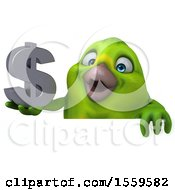 3d Green Bird Holding A Dollar Sign On A White Background