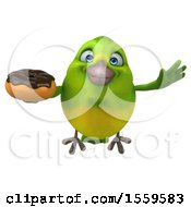 3d Green Bird Holding A Donut On A White Background