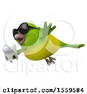 3d Green Bird Holding A Tooth On A White Background