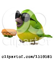 Clipart Of A 3d Green Bird Holding A Hot Dog On A White Background Royalty Free Illustration by Julos