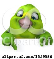 Clipart Of A 3d Green Bird Over A Sign On A White Background Royalty Free Illustration by Julos