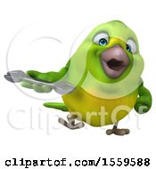3d Green Bird Holding A Wrench On A White Background