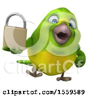 3d Green Bird Holding A Padlock On A White Background