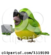 3d Green Bird Holding An Envelope On A White Background