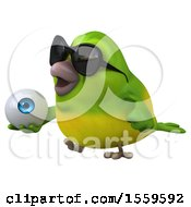 3d Green Bird Holding An Eye On A White Background