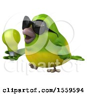 Clipart Of A 3d Green Bird Holding A Light Bulb On A White Background Royalty Free Illustration by Julos