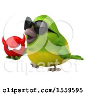 3d Green Bird Holding A Devil On A White Background
