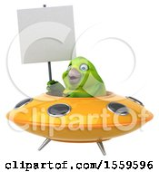 3d Green Bird Flying A Ufo On A White Background