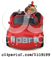 3d Chubby Brown Business Chicken Driving A Convertible On A White Background