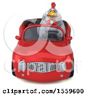 Poster, Art Print Of 3d Chubby White Chicken Driving A Convertible On A White Background