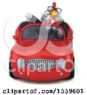 Poster, Art Print Of 3d Chubby White Business Chicken Driving A Convertible On A White Background