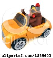 Poster, Art Print Of 3d Chubby Brown Chicken Driving A Convertible On A White Background
