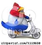 Clipart Of A 3d Chubby French Chicken Riding A Scooter On A White Background Royalty Free Illustration
