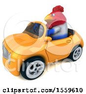 Poster, Art Print Of 3d Chubby French Business Chicken Driving A Convertible On A White Background