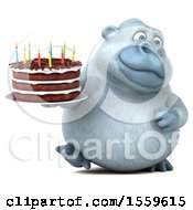 Poster, Art Print Of 3d White Monkey Yeti Holding A Birthday Cake On A White Background