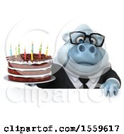 Poster, Art Print Of 3d White Business Monkey Yeti Holding A Birthday Cake On A White Background