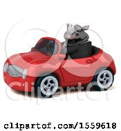 Poster, Art Print Of 3d Business Rhinoceros Driving A Convertible On A White Background
