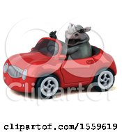 Poster, Art Print Of 3d Rhinoceros Driving A Convertible On A White Background