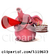 Poster, Art Print Of 3d Pink Elephant Holding A Birthday Cake On A White Background