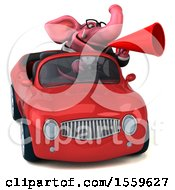 April 19th, 2018: Clipart Of A 3d Pink Business Elephant Driving A Convertible On A White Background Royalty Free Illustration by Julos
