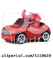 Poster, Art Print Of 3d Pink Elephant Driving A Convertible On A White Background