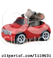 Poster, Art Print Of 3d Elephant Driving A Convertible On A White Background