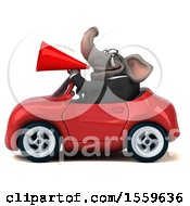 Poster, Art Print Of 3d Business Elephant Driving A Convertible On A White Background