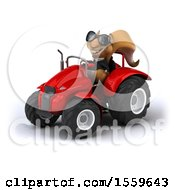 April 19th, 2018: Clipart Of A 3d Business Squirrel Operating A Tractor On A White Background Royalty Free Illustration by Julos