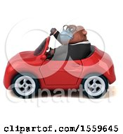 Poster, Art Print Of 3d Business Orangutan Monkey Driving A Convertible On A White Background
