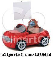 Poster, Art Print Of 3d Orangutan Monkey Driving A Convertible On A White Background