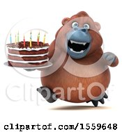 Clipart Of A 3d Orangutan Monkey Holding A Birthday Cake On A White Background Royalty Free Illustration by Julos
