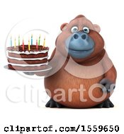 Poster, Art Print Of 3d Orangutan Monkey Holding A Birthday Cake On A White Background
