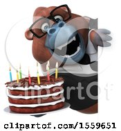 Clipart Of A 3d Business Orangutan Monkey Holding A Birthday Cake On A White Background Royalty Free Illustration