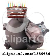Poster, Art Print Of 3d Hippo Holding A Birthday Cake On A White Background