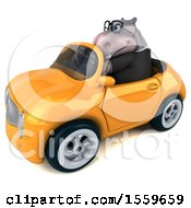 April 19th, 2018: Clipart Of A 3d Business Hippo Driving A Convertible On A White Background Royalty Free Illustration by Julos