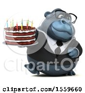 Poster, Art Print Of 3d Business Gorilla Mascot Holding A Birthday Cake On A White Background