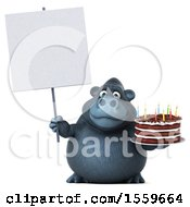 Clipart Of A 3d Gorilla Mascot Holding A Birthday Cake On A White Background Royalty Free Illustration by Julos