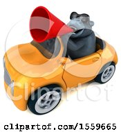 Poster, Art Print Of 3d Gorilla Mascot Driving A Convertible On A White Background